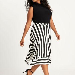 Black & Cream Strip Skirt Size S